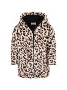 Douuod Beige Coat For Girl With Animalier Details - Brown
