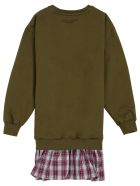Philosophy di Lorenzo Serafini Kids Green Cotton And Tulle Check Dress With Logo - Green