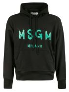 MSGM Logo Hoodie - Black/Cyan