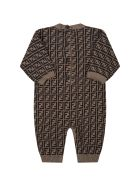 Fendi Beige Jumpsuit For Babykids With Double Ff - Brown