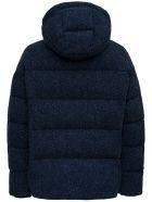 doppiaa Quilted Down Jacket In Blue Herringbone Wool - Blu