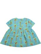 Stella McCartney Kids Light Blue Dress For Babygirl With Palm Trees - Light Blue