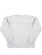 MSGM Grey Sweatshirt For Baby Kids With Logo - Grey