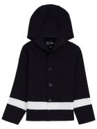 Emporio Armani Blue And White  Wool Blend  Hooded Cardigan - Blu