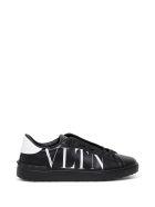Valentino Garavani Open Leather Sneakers With Vltn Print - White/black