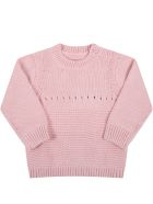 Stella McCartney Kids Pink Sweater For Baby Girl With Pink Dog - Pink