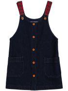 Philosophy di Lorenzo Serafini Kids Blue Denim Dress With Check Shoulder Straps - Blu