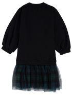 Philosophy di Lorenzo Serafini Kids Black Cotton And Tulle Check Dress With Logo Print - Black