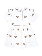 Burberry White Dress For Baby Girl With Thomas Bear - White