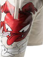 GCDS Cream Cotton Logo-print Track Shorts - Panna