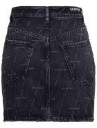 Balenciaga Denim Skirt With Allover Logo - Black