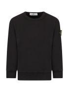Stone Island Junior Black Sweatshirt For Boy With Iconic Compass - Black