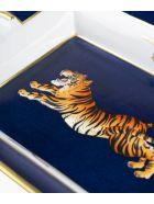 "Larusmiani Porcelain Ashtray ""crouching Tiger"" - blu night"