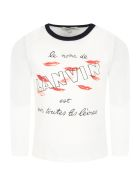 Lanvin White T-shirt For Girl With Lips - White