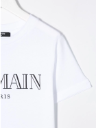 Balmain Unisex Kid White T-shirt With Black Logo