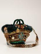 Sikuly Handbag Sinfunia Sikuly Coffa Bag With Fur And Mirrors - Multicolor