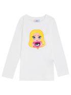 Chiara Ferragni Long-sleeved Cotton T-shirt With Mascot Print - Beige