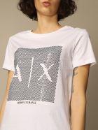 Armani Collezioni Armani Exchange T-shirt Armani Exchange Cotton T-shirt With Big Sequin Logo - White