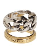 Alexander McQueen Stacked Chain Ring - Ant Gold Ant.silver