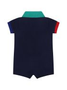 Ralph Lauren Blue Romper For Baby With Pony Logo - Blue