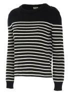 Saint Laurent Striped Sweater - Nero bianco