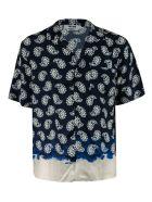 MSGM Paisley Print Cropped Shirt - Blue/White