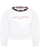 Sonia Rykiel White Sweatshirt For Girl With Logo - White