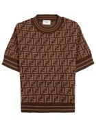 Fendi Brown T-shirt In Ff Viscose Blend - Brown