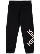 Kenzo Kids Black Cotton Joggers With Logo Print - Black