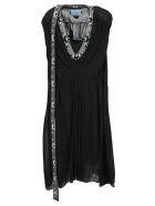 Prada Knit Detail Silk Dress - BLACK