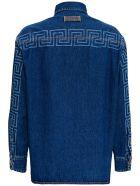 Versace Denim Shirt With Logo Print - Blu