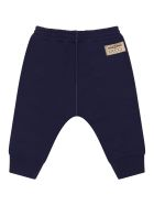 Gucci Blue Sweatpants For Baby Boy With Patch Logo - Blue