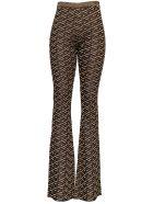 Versace Viscose Blend Flared Pants  With Monogram Print - Metallic