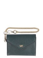 Michael Kors Money Pieces Small Flap-over Leather Wallet - green