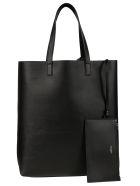 Saint Laurent Logo Clutch Detail Shopper Bag - Black