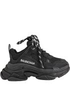 Balenciaga Black Sneakers Triple S For Kids With Logo - Black