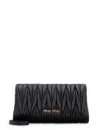 Miu Miu Quilted Leather Clutch - black
