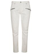 Balmain Side Zipped Pocket Slim Jeans - White