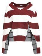 Mrz Double-Layered Stripe Jumper - Maroon/Grey