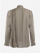 Fendi Shirt With All-over Logo Print - Beige