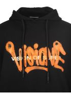 "Vision of Super Black And Fluo Orange Man ""visione"" Hoodie - Black/orange"