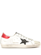 Golden Goose Woman White Super-star Sneakers With Red Spoiler And Black Glitter Star