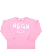 MSGM Pink T-shirt For Baby Girl With Logo - Pink