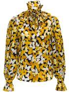Saint Laurent Floral Silk Blouse - Yellow