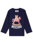 Moschino Long-sleeved T-shirt In Blue Cotton With Teddy Bear Print - Blu