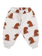 Mini Rodini Grey Sweatpant For Babykids With Walruses - Grey
