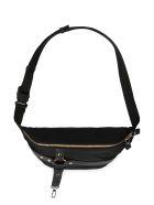 Versace Nylon Belt Bag With Leather Details - black
