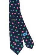 Eddy Monetti Fish Print Neck Tie - Blue/Multicolor
