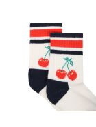 Happy Socks Ivory Socks For Girl With Cherry - Ivory