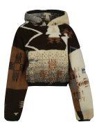 Aries Cropped Ikat Fleece Hoodie - Multicolor